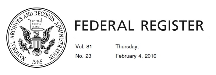 federal register title page Feb 4 2016